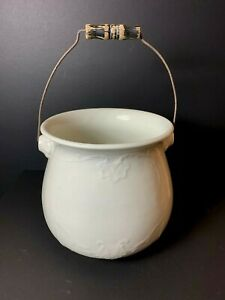 Vintage Antique Cannonsburg China Porcelain Chamber Pot W Wood Handle