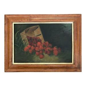 Antique 19th Century American Folk Art Primitive Oil Painting Of Strawberries