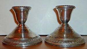 Vintage Crown New York Sterling Silver Candle Holders Candlesticks