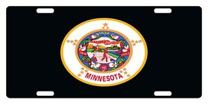Minnesota Flag Custom License Plate Emblem Black Version