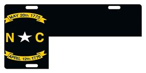 North Carolina Flag Custom License Plate Emblem Black And White Version