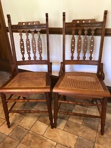 2 Solid Walnut Cane Bottom Chairs With Burl Walnut Accents