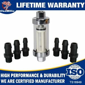 9706 Clearview Inline Fuel Filter W Glass Body 1 4 5 16 3 8 Fittings Hoses