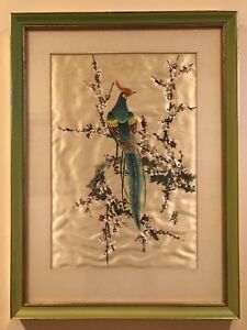 Chinese Watercolor Painting Hand Painted Flower Birds On Silk Signed