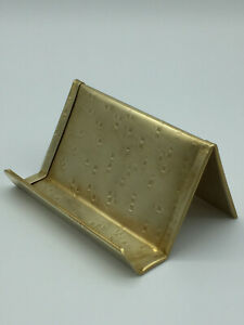 Square Hammered Brass Business Card Holder Made In Usa Anniversary Gift Desk
