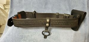 Police Mart Leather Duty Belt Black Basketweave With Accessories Size 38