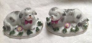 Antique French Edme Samson Porcelain Pair Of Staffordshire Style Dog Figurines