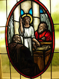 Antique Church Stained Glass Window Architectural Salvage Jesus In Temple W601