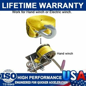 Recovery Tow Winch Straps 2 X 20 Rope Hook Car Boat Trailer 10000lbs Max Towing