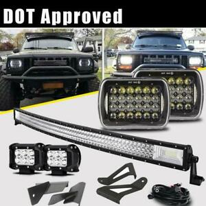 For Jeep Cherokee Xj Roof Mount Bracket 50 Led Light Bar 7x6 Headlights Set