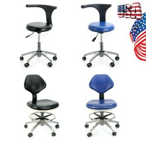 4 Models Pu Leather Adjustable Stool Dentist Chair Hydraulic Rolling Stools New