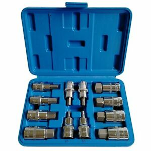 12 Pcs 1 2 Drive Square Allen Hex Impact Sockets Bits Set 62mm Long H5 H22 Cr V