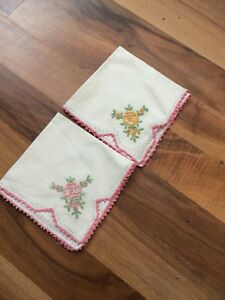 Vintage White Hankies Pink Crocheted Lace Edge Trim Pink And Yellow Flowers