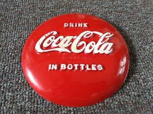 RARE 1950's COCA-COLA Small Vacuform Embossed BUTTON SIGN....NOS...NEAT!