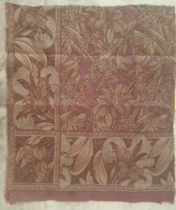Antique Lilly Floral Tapestry Fabric Cutter Craft Victorian Art Nouveau A43