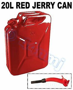 Race Rally Offroad 20lt Metal Jerry Can Spout For Fuel Petrol Diesel Red