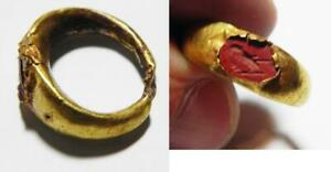 Zurqieh As11114 Ancient Roman Gold Ring With A Red Jasper Intaglio 200 A D