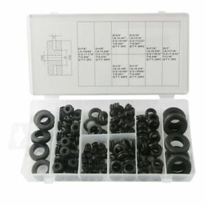 180pcs Rubber Harness Grommets Retaining Ring Blanking Hole Wiring Cable Gasket