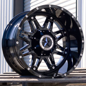 20 Gloss Black Lonestar Outlaw Wheels 20x12 8x6 5 44 Chevy Silverado 2500 3500