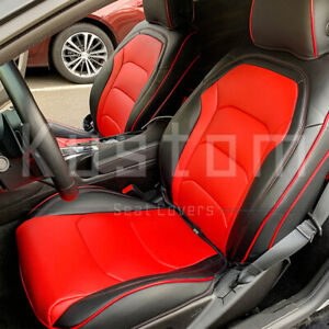 For 16 Up Camaro Coupe Custom Fit Black Red Interior Leather Seat Covers