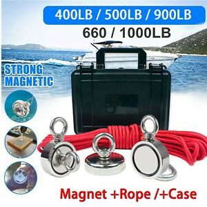 Fishing Magnet Kit Strong Neodymium Round Thick Eyebolt Rope Treasure Hunt Usa