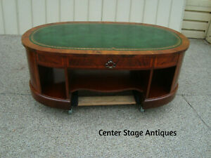 60050 Milano Inlaid Mahogany Leather Top Coffee Table
