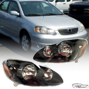 For 2003 2008 Toyota Corolla Black Headlights Pair Set Left Right Headlamps