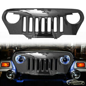 For 1997 2006 Jeep Wrangler Tj Front Bumper Grill Gloss Black Angry Bird Grille