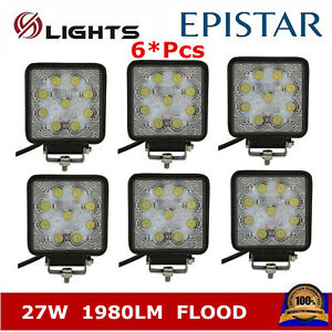 6x 27w 4inch Flood Work Led Light Fog Driving Drl Off road Suv Square Truck Boat