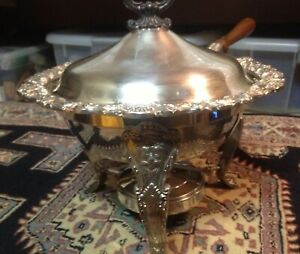 Silver Chafing Dish Lion Footed W Burner Lid Pan Stand Fb Rogers 7745 Exc