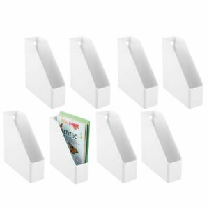 Mdesign Plastic File Folder Bin Home Office Desktop Organizer 8 Pack White