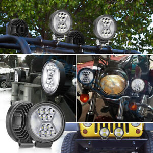 2x 5inch Round Led Work Lights Bull Bar Spot Flood Driving Atv Truck Offroad Fog