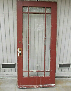 Antique 9 Pane Solid Wood Glass Front Back Door Red White Old Lock Damage C Pics