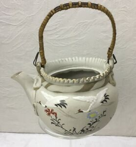 Antique Japanese Banko Pottery Teapot Hand Painted With Wicker Handle No Lid