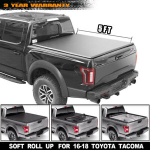 Lock Roll Up Tonneau Cover For 2016 2018 Toyota Tacoma Double Cab 5ft 60in Bed