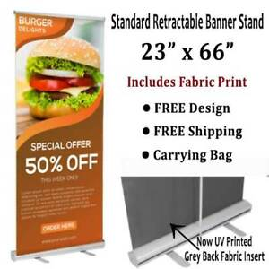 Banner Stand Retractable 23 x66 Includes Fabric Print