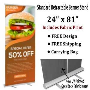 Banner Stand Retractable 24 x81 Includes Fabric Print