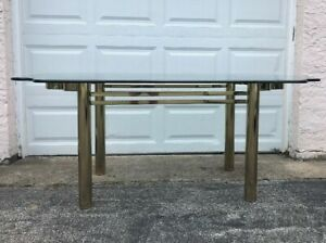 Fantastic Pace Racetrack Brass Dining Room Table 120 Matching Beveled Glass Top