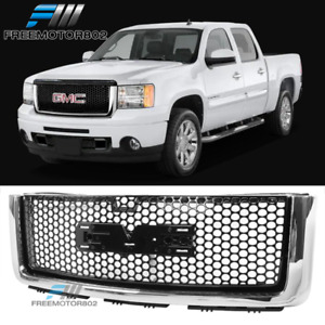 Fits 07 13 Gmc Sierra 1500 Front Upper Hood Grill Gloss Chrome