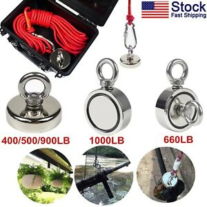 Fishing Magnet Kit Up To 900 Lb Pull Force Super Strong Neodymium rope abs Case