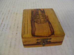 Vintage Small Jerusalem Olive Wood Box With Carved Jerusalem Star