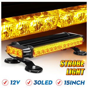 15 30 Led Amber Roof Top Strobe Light Bar Emergency Flashing Beacon Warning