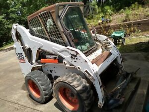 Bobcat S205 Ac heated Cab With Trailer Grapple Bucket Tree Puller 48 Forks