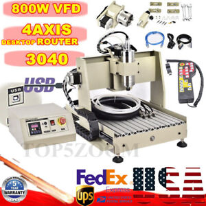 4axis Usb Cnc 3040 Router Engraver Wood Milling Carving Machine 800w Handwheel