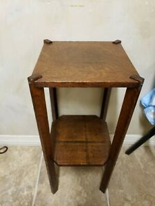 Small Vintage Antique Arts Crafts Mission Square Accent Table Plant Stand