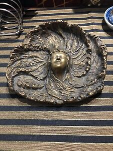 Art Nouveau Austria Hungary Wein Bronze Maiden Wahliss Lady Tray