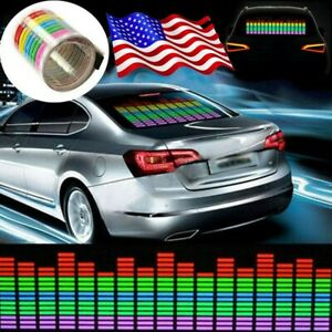 Multi 80x19cm Car Sticker Music Rhythm Led Flash Light Lamp Sound Activated Us