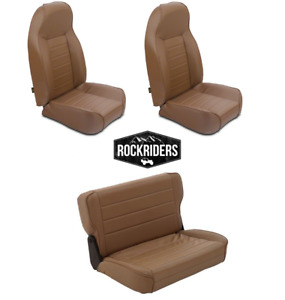 1976 95 Jeep Wrangler Cj7 Front And Rear Complete Seat Combo Set Of Three Spice