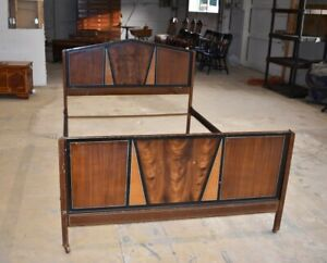 Vintage Art Deco Style Painted Metal Full Size Retro Bed Mid Century Furniture