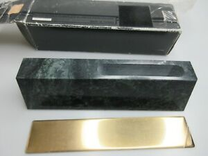 Vintage Black Marble Name Plate Business Card Holder With Engravable Brass Plate
